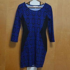 Blue & Black Patterned Long Sleeved Dress